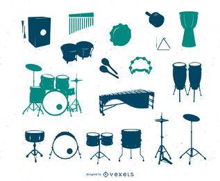 Variedade de coleção de silhuetas de tambores