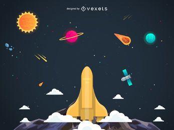 Nave espacial de lanzamiento en la ilustración del cielo