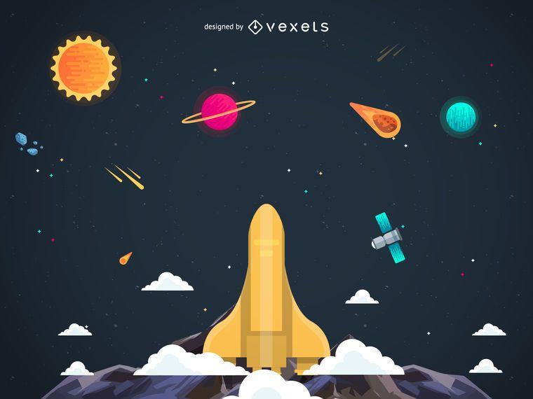 Nave espacial de lançamento em ilustração do céu