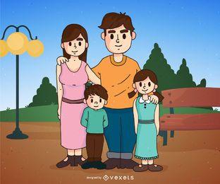 Familia de dibujos animados en un parque