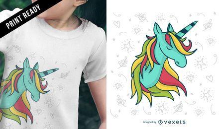 Diseño lindo de camiseta de unicornio