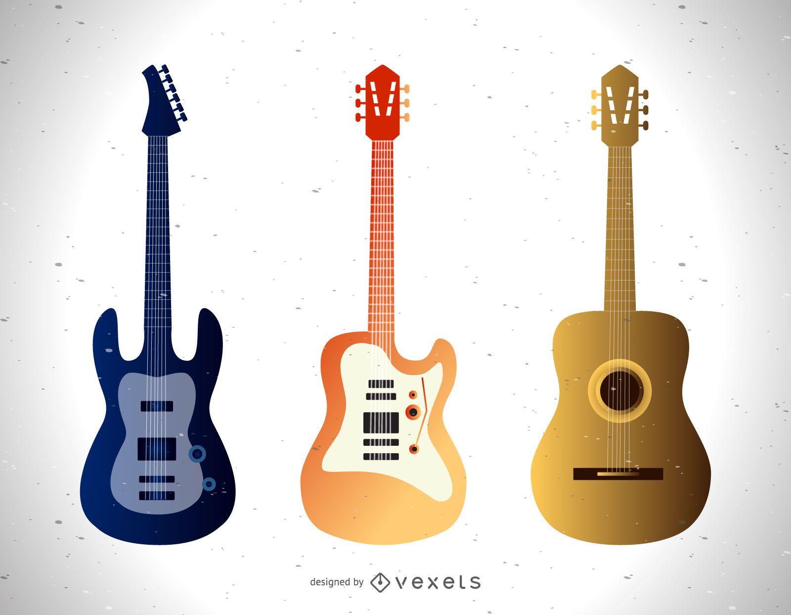 Conjunto de diferentes ilustraciones de guitarra.