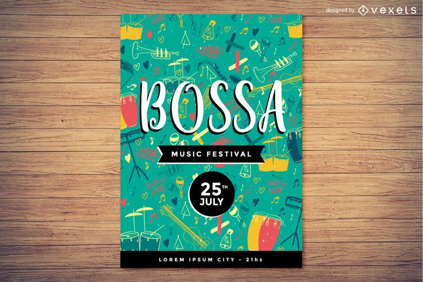 Bossa Nova festival flyer template