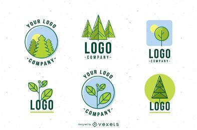 Conjunto de modelo de logotipo da natureza