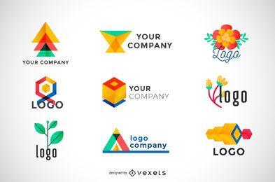 Colección de logotipos geométricos de colores.