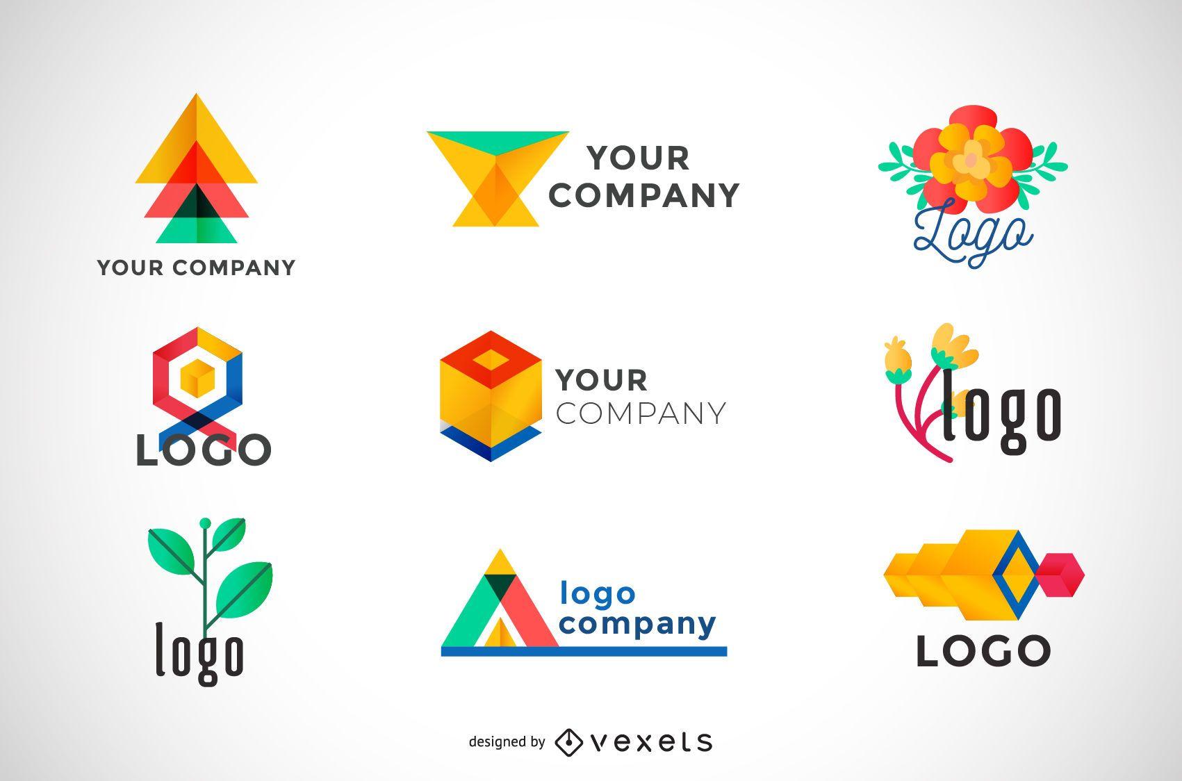 Coleção de logotipos geométricos coloridos