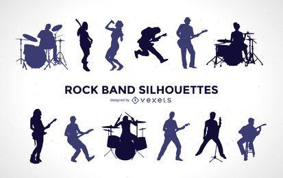 Conjunto de silhueta de banda de rock