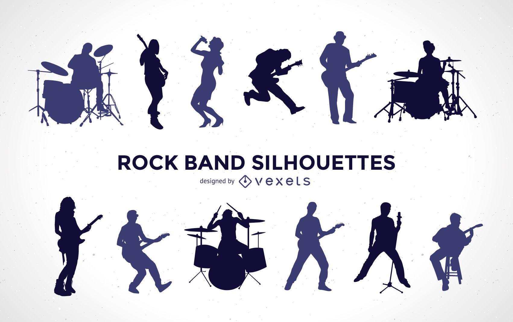 Conjunto de silueta de banda de rock