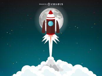 Ilustración de lanzamiento de cohete con luna