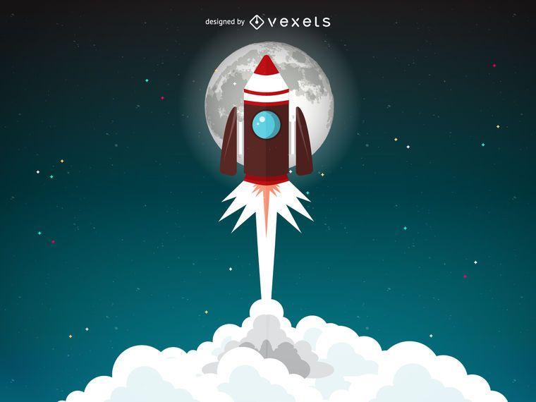 Ilustração de lançamento de foguete com a lua