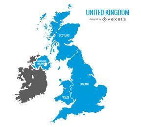 Mapa azul do Reino Unido