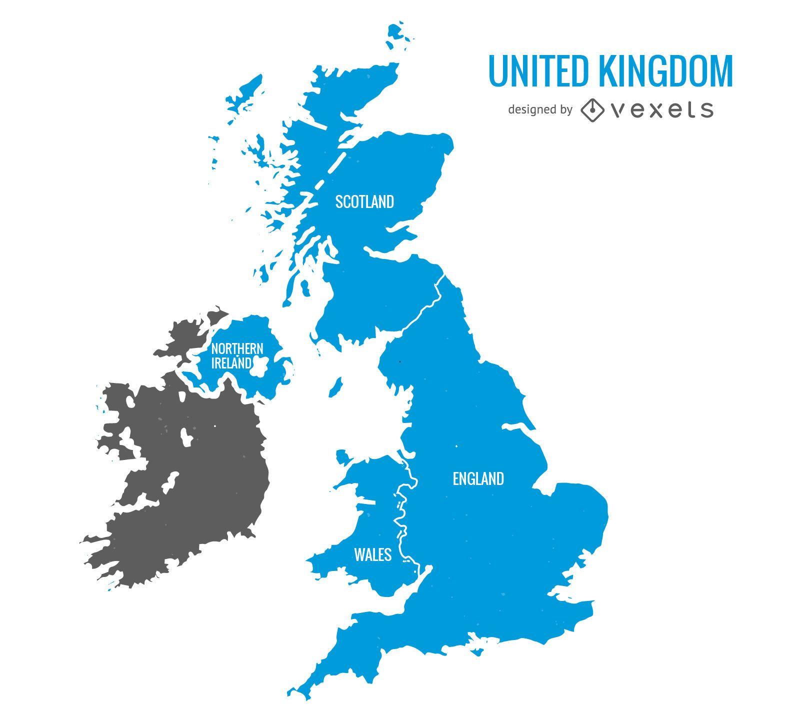 United Kingdom blue map