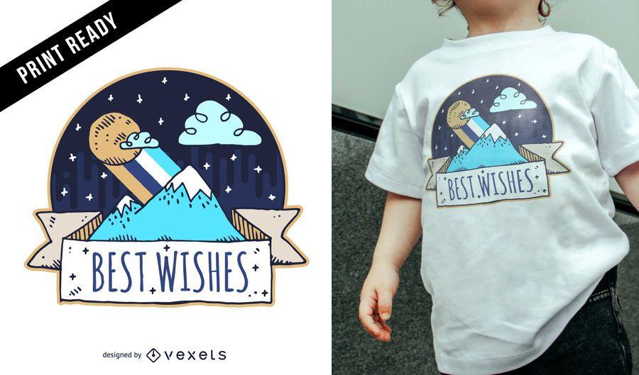 Doodle design de t-shirt de criança de montanha
