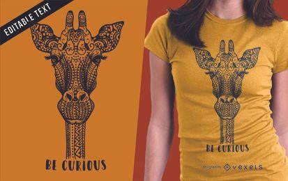 Projeto de t-shirt da ilustração do girafa
