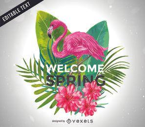 Ilustração de boas-vindas da primavera com flamingo