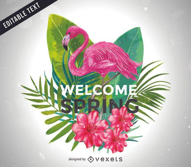 Bienvenida ilustración de primavera con flamenco.