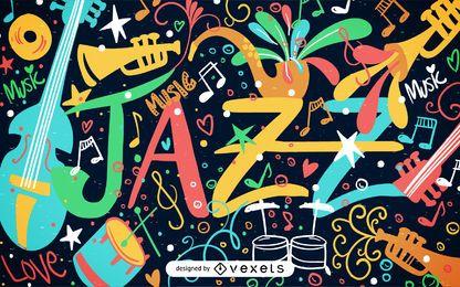 Ilustración de cartel de jazz