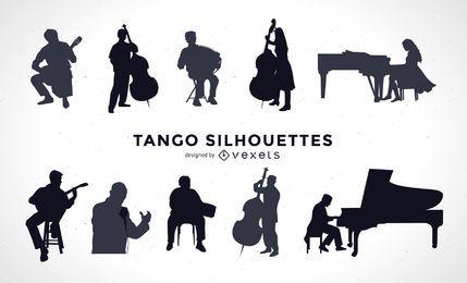 Conjunto de silhueta de músicos de tango