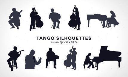 Tango musicians silhouette set
