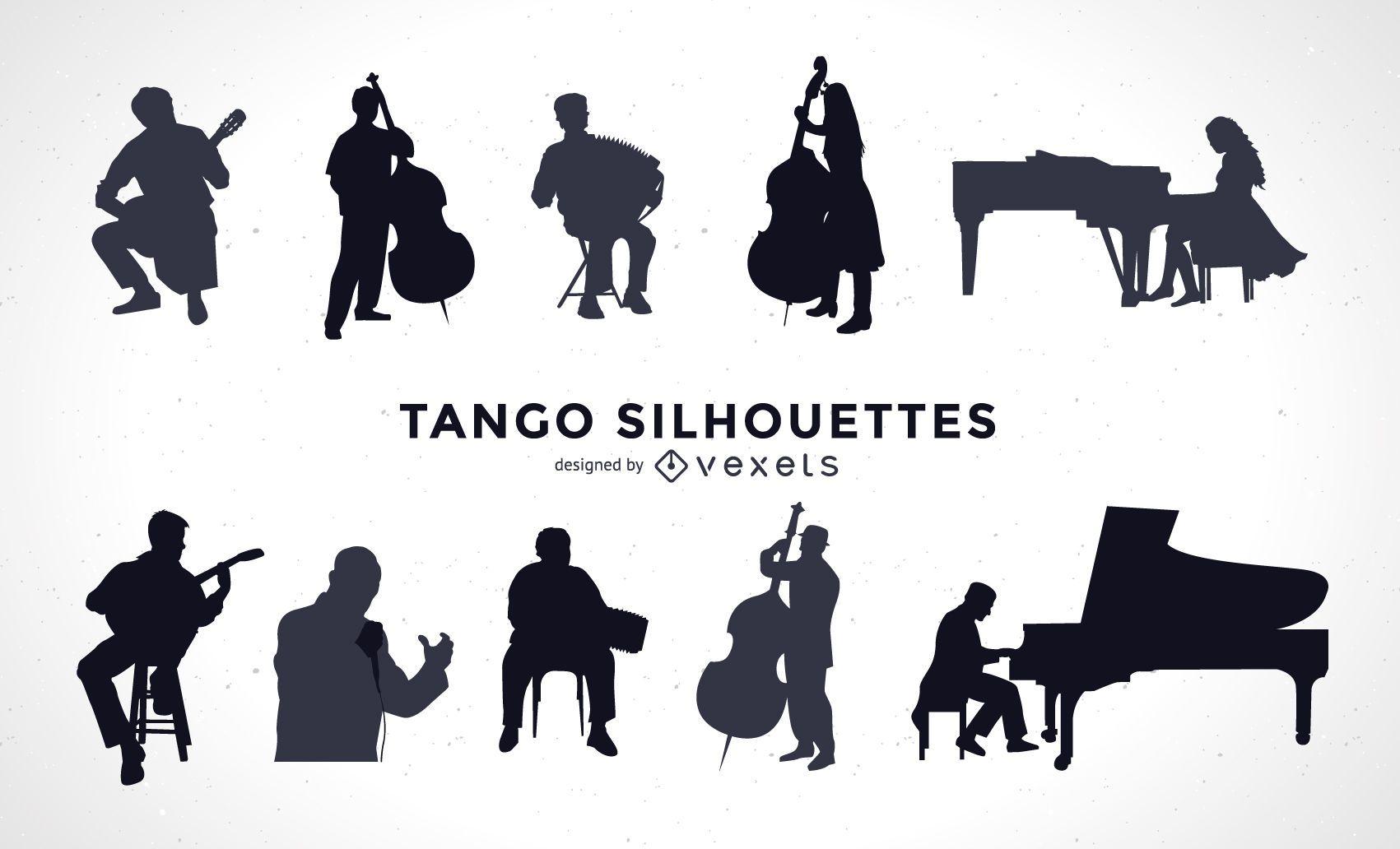 Conjunto de silhuetas de músicos de tango