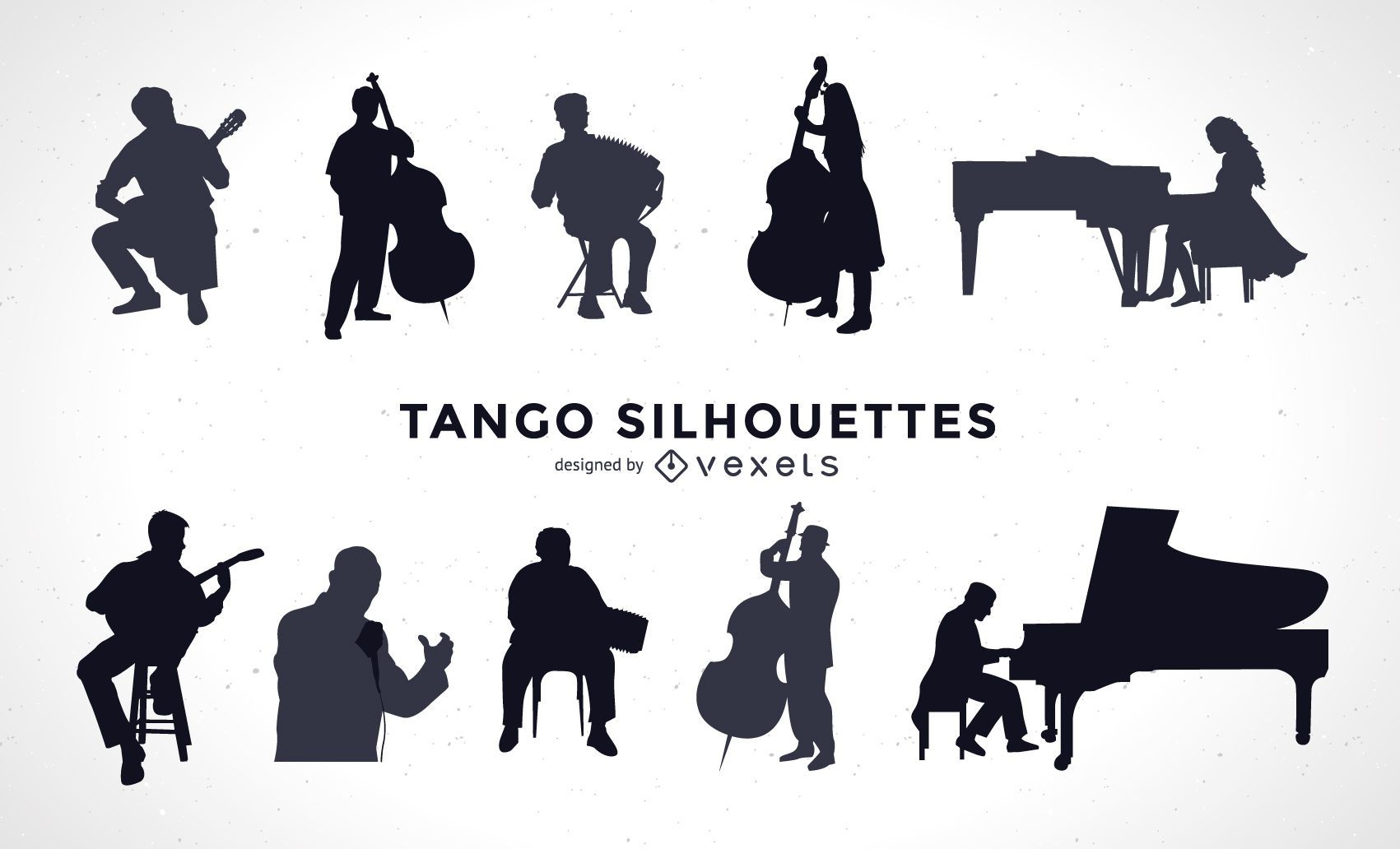 Conjunto de silueta de músicos de tango