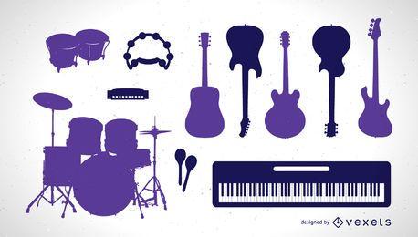 Conjunto de silhuetas de instrumentos musicais