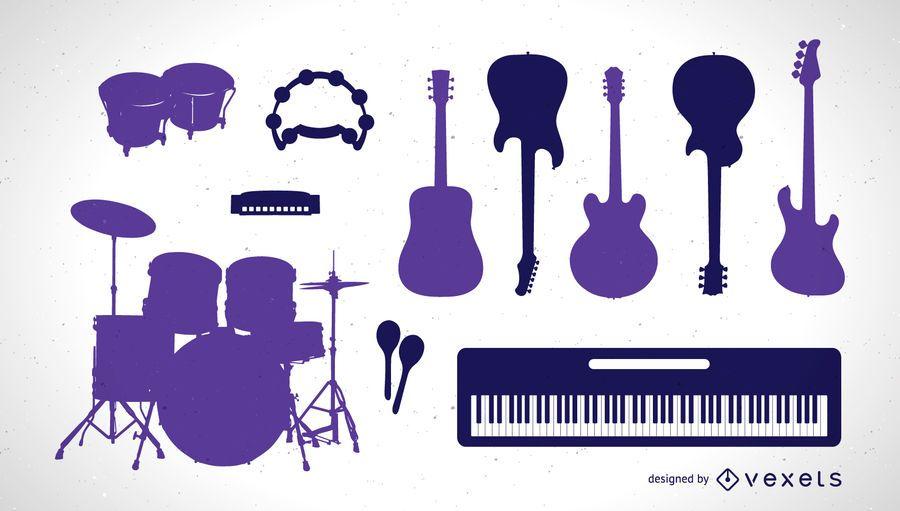 Conjunto de siluetas de instrumentos musicales.