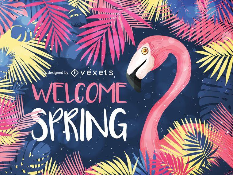 Bienvenida diseño de primavera con ilustraciones.