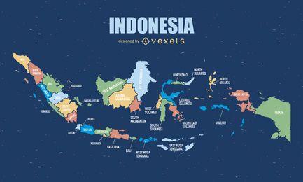 Mapa completo da Indonésia