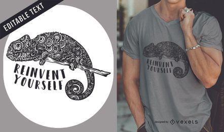 Diseño de camiseta con ilustración de camaleón