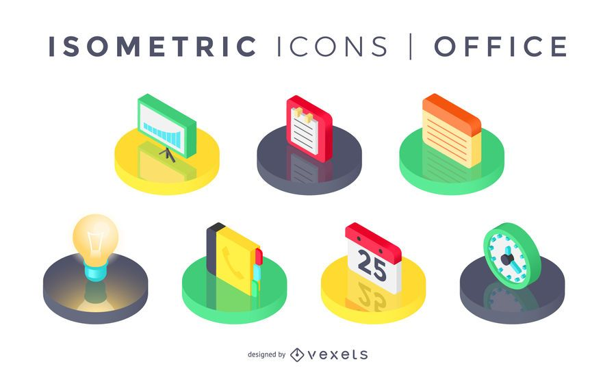 Colección de iconos de oficina isométrica