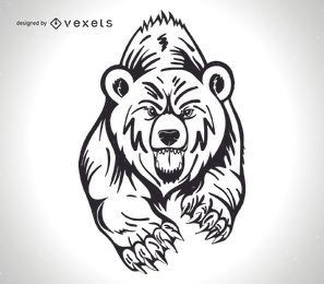 Diseño de oso grizzly enojado