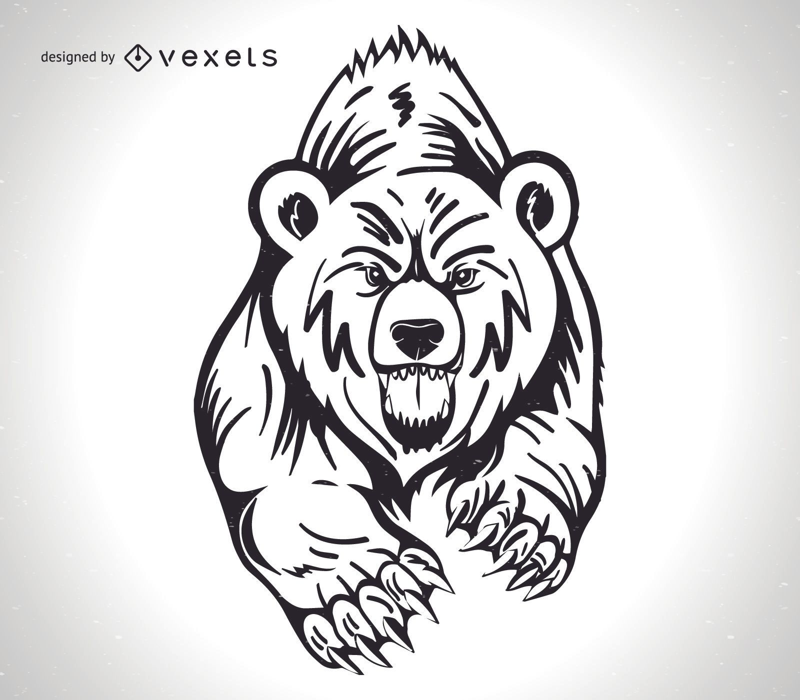 Angry Grizzly Bear Design