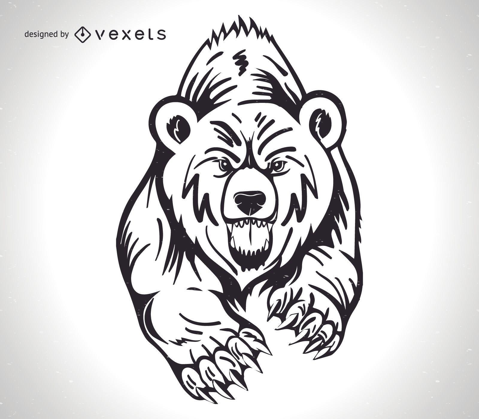 Design de urso pardo irritado