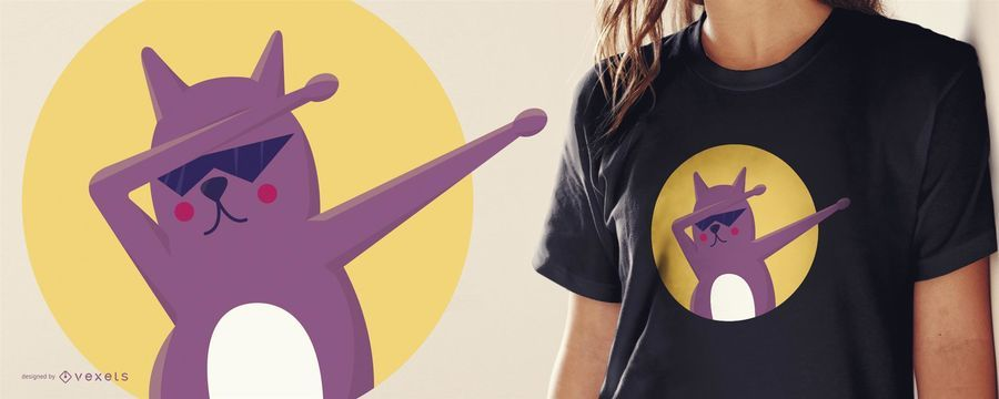 Design engraçado da camiseta do gato Dab
