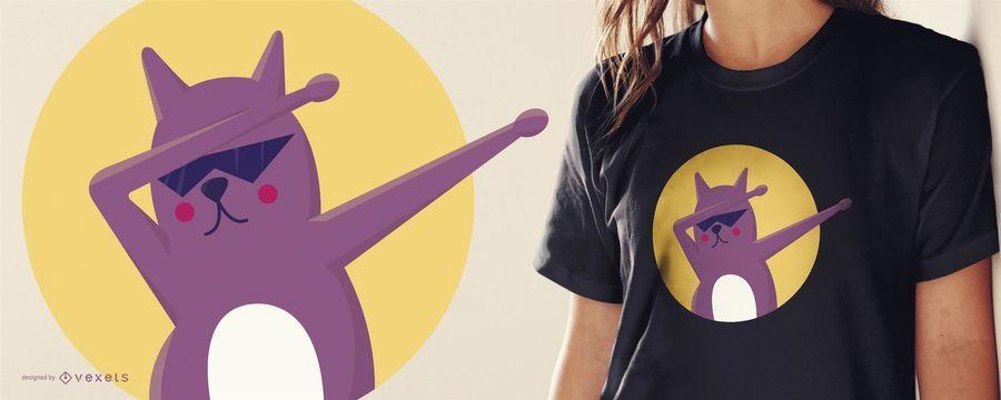 Diseño divertido de la camiseta del gato dab
