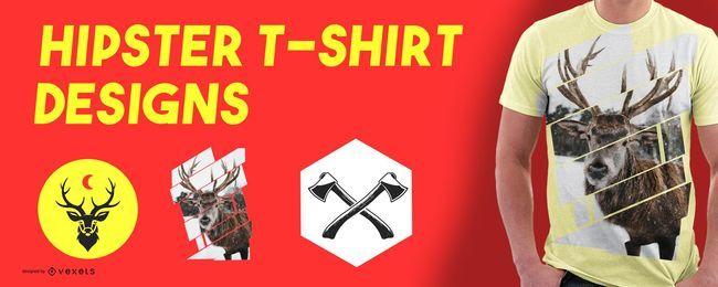 Conjunto de diseños de camiseta de elementos hipster.