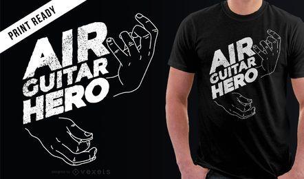 T-shirt engraçado do herói da guitarra aérea