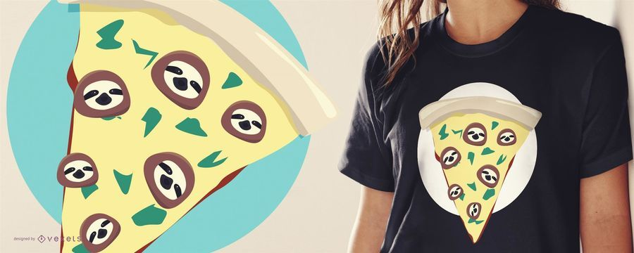 Projeto engraçado do t-shirt da preguiça da pizza