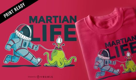 Design de t-shirt engraçado de vida em Marte