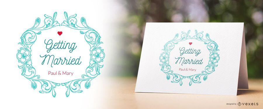 Diseño de invitación de boda de la vendimia