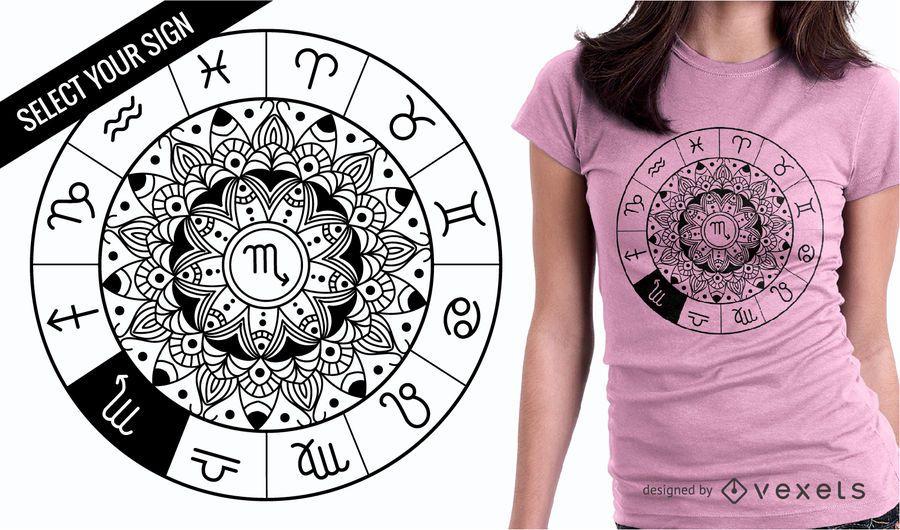 Projeto do t-shirt da roda da mandala do sinal do zodíaco