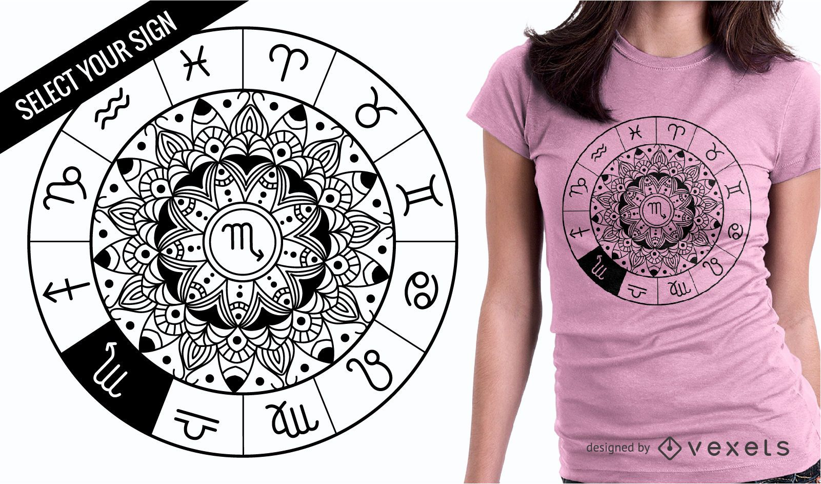 b3a985c37 Zodiac Sign Mandala Wheel T-Shirt Design - Vector download