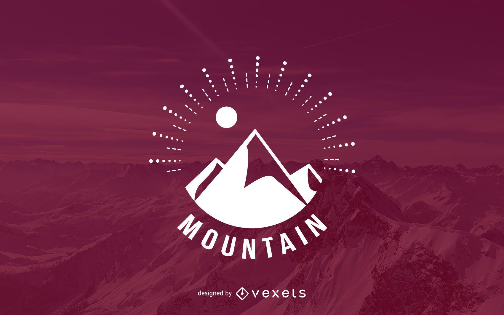 Hipster mountain logo template