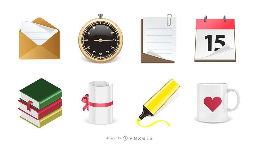 Conjunto de ícones de escritório 3D