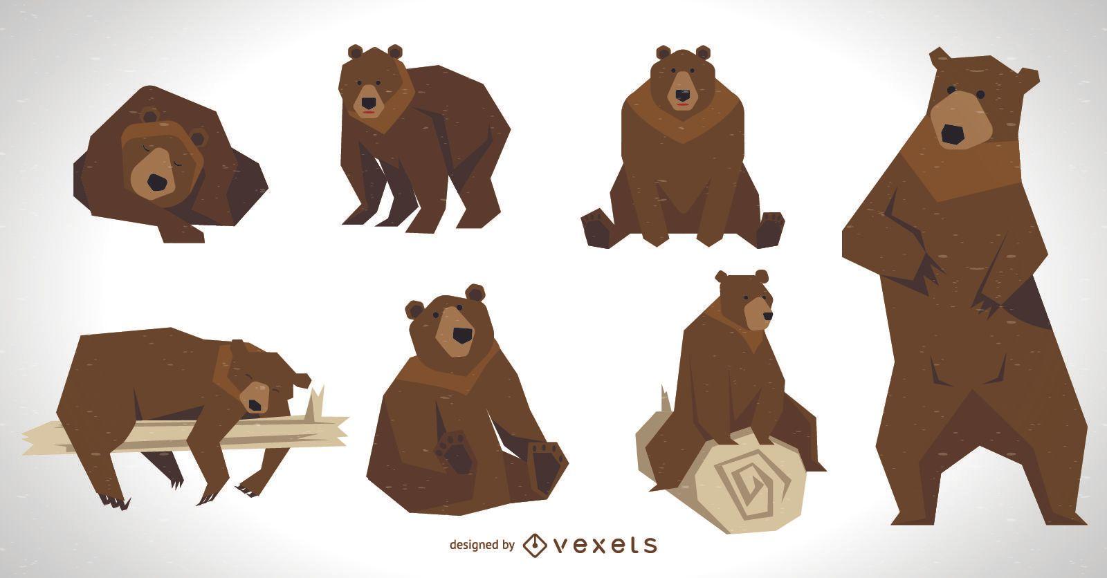 Conjunto de ilustrações de urso pardo