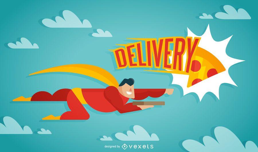 Super pizza delivery man