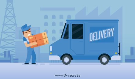 Delivery man cartoon vector