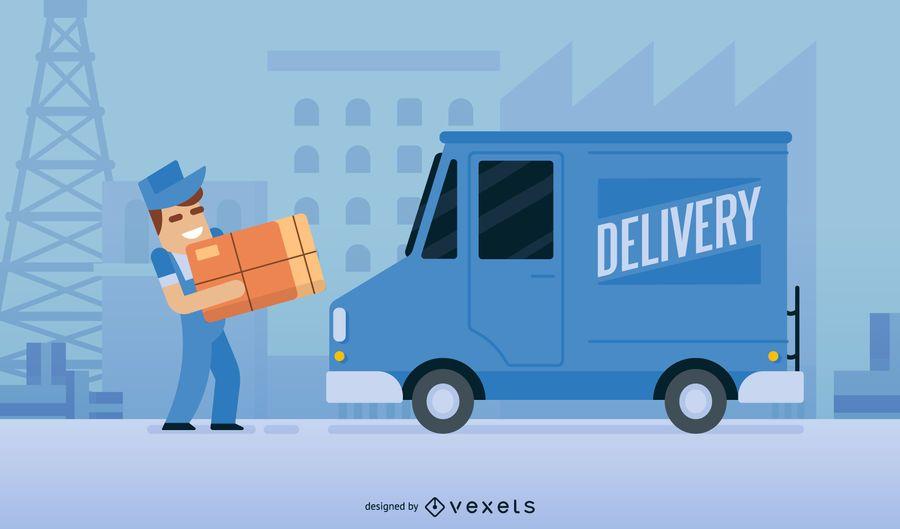 Vetor de desenhos animados de homem de entrega