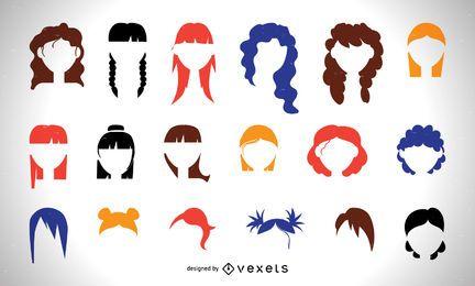 Colorido conjunto de corte de pelo de las mujeres